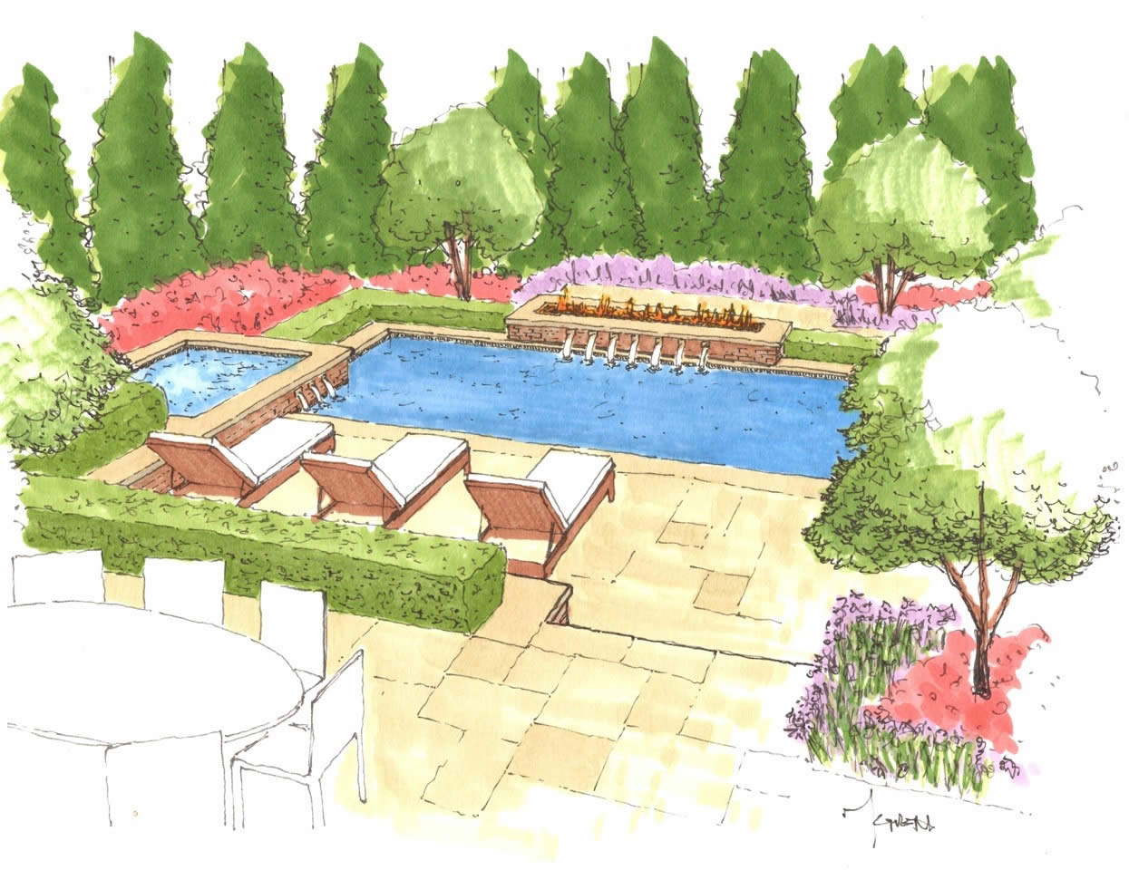 Sketch portfolio of given pool designs llc kansas city for Pool design concepts llc